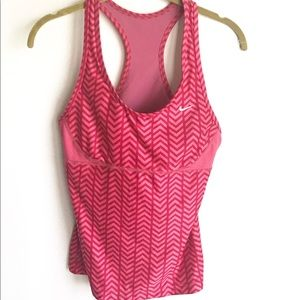 Nike Tops - Nike Pink Chevron Stripes Top Built In Bra Size 10